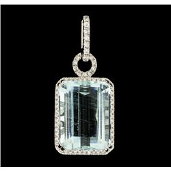 15.42 ctw Aquamarine and Diamond Pendant - 18KT White Gold