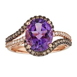 3.25 ctw Amethyst, Brown Diamond and Diamond Ring - 10KT Rose Gold