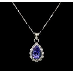 14KT White Gold 2.43 ctw Tanzanite and Diamond Pendant With Chain