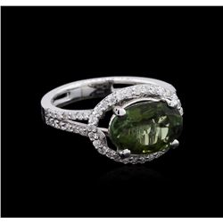 3.03 ctw Green Tourmaline and Diamond Ring - 14KT White Gold