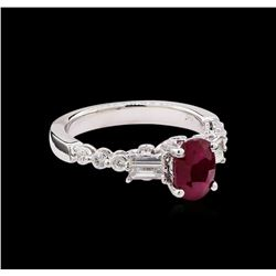 1.60 ctw Ruby and Diamond Ring - 18KT White Gold