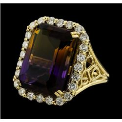 14.64 ctw Ametrine Quartz and Diamond Ring - 14KT Yellow Gold