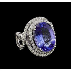 11.16 ctw Tanzanite and Diamond Ring - 14KT White Gold