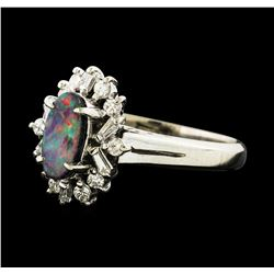0.62 ctw Black Opal and Diamond Ring - Platinum