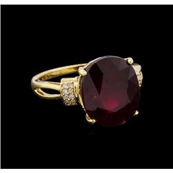 10.87 ctw Ruby and Diamond Ring - 14KT Yellow Gold