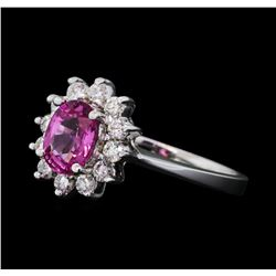 1.00 ctw Pink Sapphire and Diamond Ring - 14KT White Gold