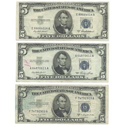 1953 $5 Silver Certificate Currency Lot of 3