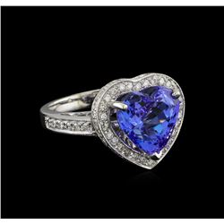 8.02 ctw Tanzanite and Diamond Ring - 14KT White Gold