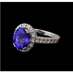 3.55 ctw Tanzanite and Diamond Ring - 14KT White Gold