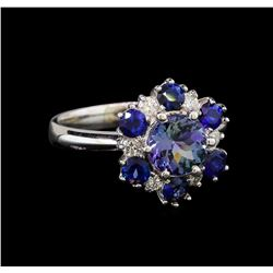 14KT White Gold 1.37 ctw Tanzanite, Sapphire and Diamond Ring