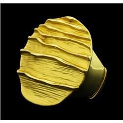 Round Medallion Ring - Gold Plated