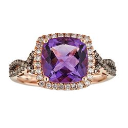 2.82 ctw Amethyst, Brown Diamond and Diamond Ring - 10KT Rose Gold