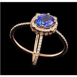 2.28 ctw Tanzanite and Diamond Ring - 14KT Rose Gold