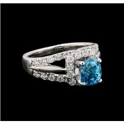2.56 ctw Blue Zircon and Diamond Ring - Platinum and 18KT White Gold