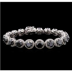 35.19 ctw Black Diamond Bracelet - 14KT White Gold