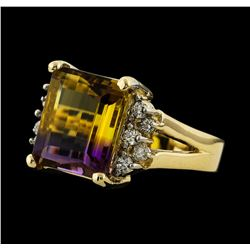 6.38 ctw Ametrine and Diamond Ring - 14KT Yellow Gold