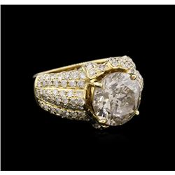 6.66 ctw Light Brown Diamond Ring - 14KT Yellow Gold