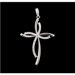 0.50 ctw Diamond Cross Pendant - 14KT White Gold
