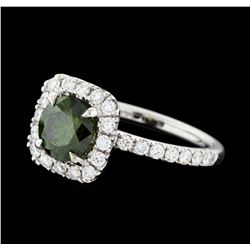 1.88 ctw Green Diamond Ring - 14KT White Gold