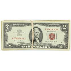 (100) 1963 $2 Red Seal Legal Tender Notes Circulated