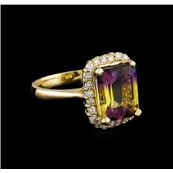 4.23 ctw Ametrine and Diamond Ring - 14KT Yellow Gold