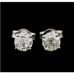 1.50 ctw Diamond Stud Earrings - 14KT White Gold