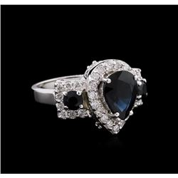 3.78 ctw Blue Sapphire and Diamond Ring - 14KT White Gold