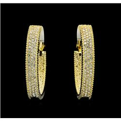 6x38mm Crystal Hoop Earrings - Gold Plated