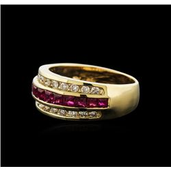 14KT Yellow Gold 1.00 ctw Ruby and Diamond Ring