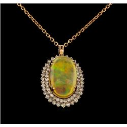 18.14 ctw Opal and Diamond Pendant With Chain - 14KT Rose Gold