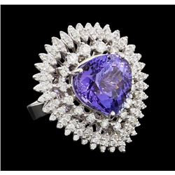10.46 ctw Tanzanite and Diamond Ring - 14KT White Gold
