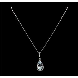 6.54 ctw Aquamarine and Diamond Pendant With Chain - 14KT White Gold