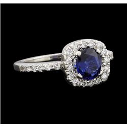 0.66 ctw Sapphire and Diamond Ring - 14KT White Gold
