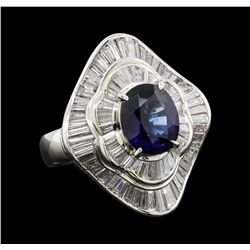 3.21 ctw Sapphire and Diamond Ring - Platinum