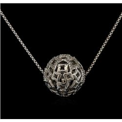 0.20 ctw Diamond Ball Pendant With Chain - Silver