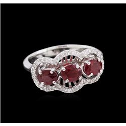 1.67 ctw Ruby and Diamond Ring - 14KT White Gold