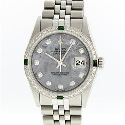 Rolex Stainless Steel Meteorite Diamond Emerald DateJust Men's Watch