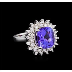 7.05 ctw Tanzanite and Diamond Ring - 14KT White Gold