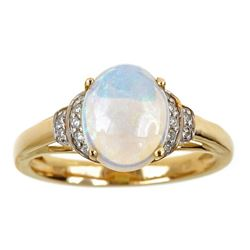 1.65 ctw Opal and Diamond Ring - 14KT Yellow Gold
