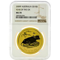 2009P NGC MS70 $100 Year Of The OX Gold Coin