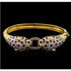 5.60 ctw Ruby, Sapphire and Diamond Bracelet - 18KT Yellow Gold