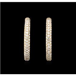 3.04 ctw Diamond Hoop Earrings - 18KT Rose Gold