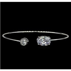 CZ Open Bangle Bracelet - Rhodium Plated