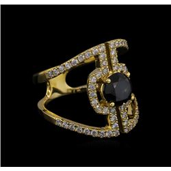 2.40 ctw Black Diamond Ring - 14KT Yellow Gold