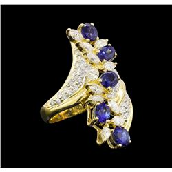 2.63 ctw Sapphire and Diamond Ring - 18KT Yellow Gold