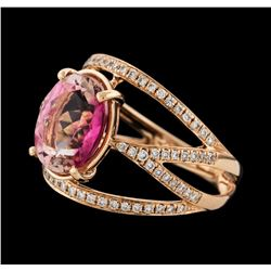 3.45 ctw Tourmaline and Diamond Ring - 14KT Rose Gold