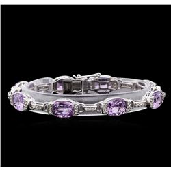Crayola 17.00 ctw Pink Amethyst and White Sapphire Bracelet - .925 Silver