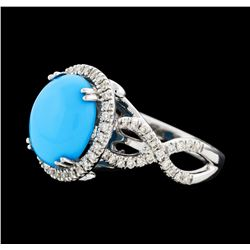 3.55 ctw Turquoise and Diamond Ring - 14KT White Gold