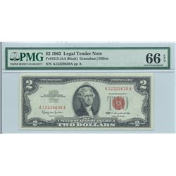 1963 PMG GU 66EPQ $2 Legal Tender Bank Note