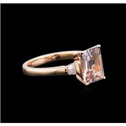 14KT Rose Gold 1.86 ctw Morganite and Diamond Ring